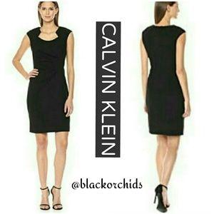💜CALVIN KLEIN💜 14 LBD BLACK DRESS JEWEL NECKLINE